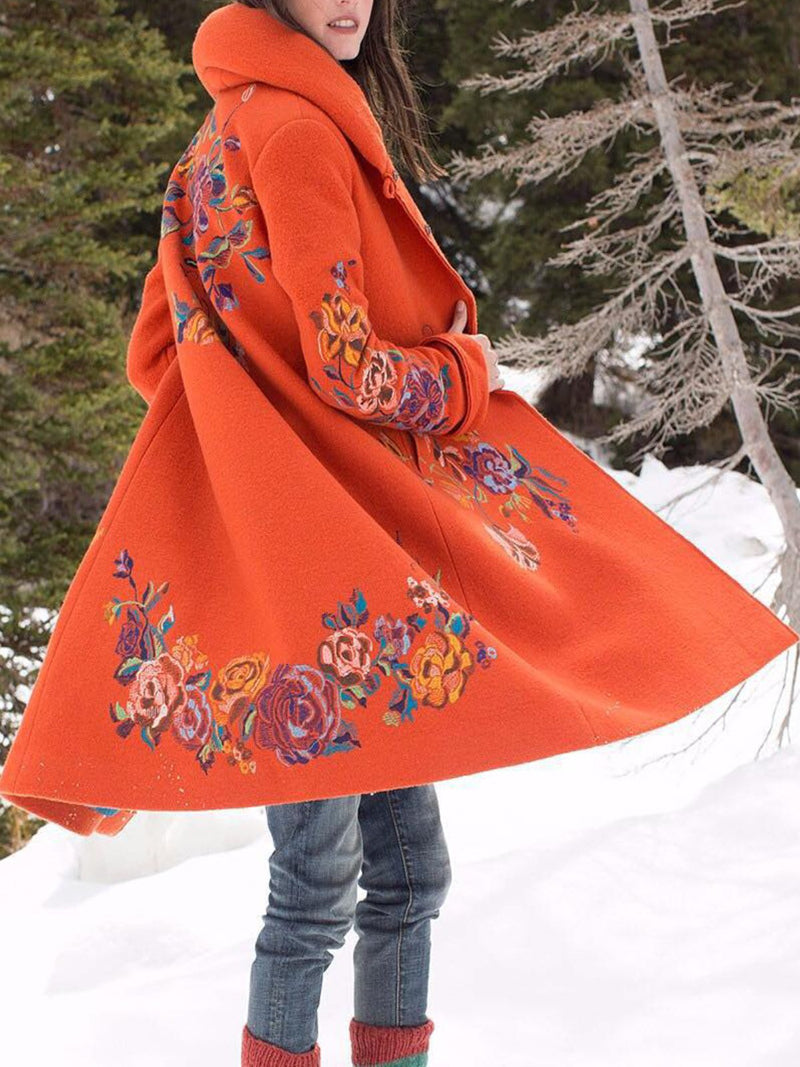 Orange Vintage Floral Cotton-Blend plus size Outerwear
