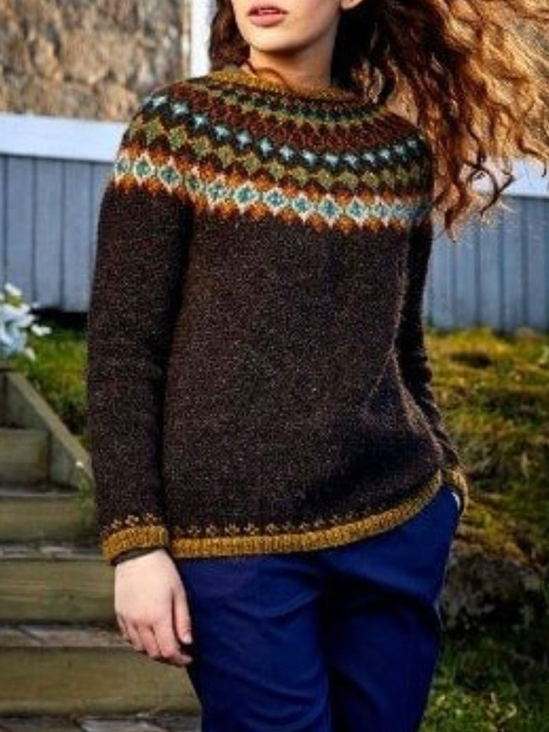 Brown Vintage Printed Patchwork Long Sleeve plus size Sweater