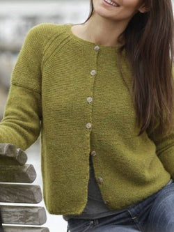 Olive Green Knitted Round Neck Long Sleeve Outerwear