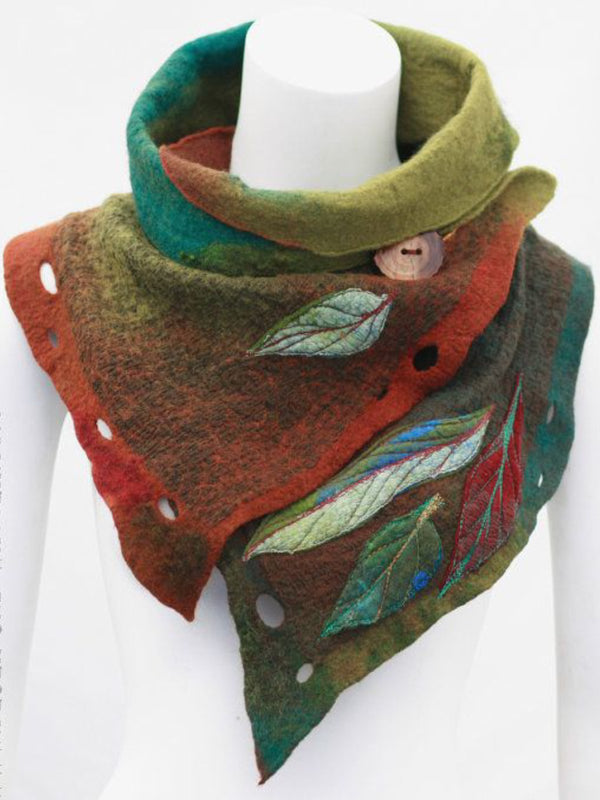 Green Cotton-Blend Vintage Color-Block Ombre/tie-Dye Scarves & Shawls
