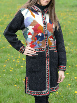 Vintage Knitted Patchwork plus size Outerwear