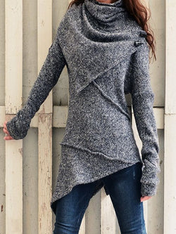 Grey Asymmetrical Casual plus size Outerwear