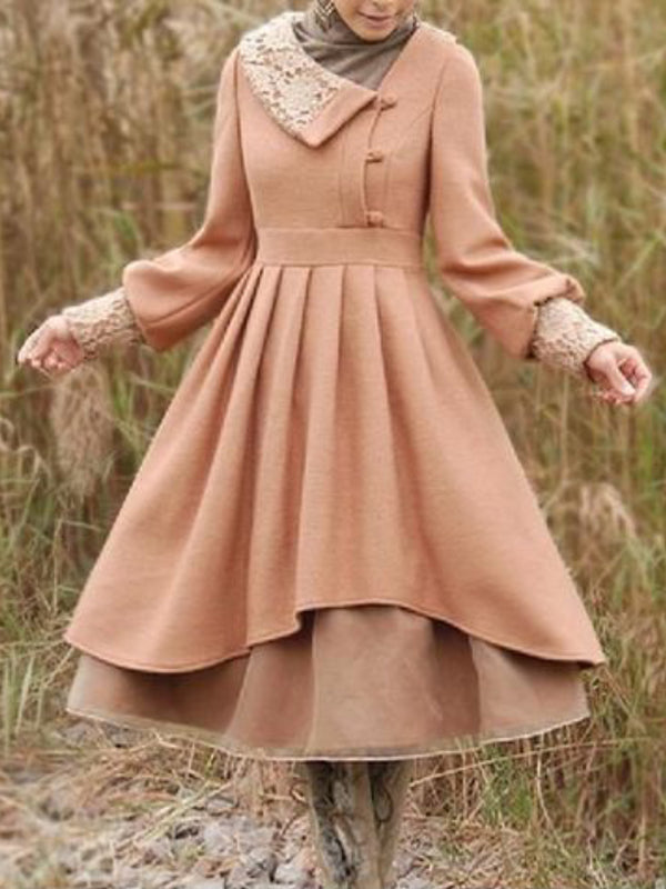 Pink Lace Up Vintage Cotton-Blend plus size Dresses