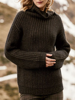 Black Casual Solid Turtleneck plus size Sweater