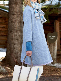 Light Blue Cotton-Blend 3/4 Sleeve Pockets Outerwear