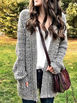 Gray Casual Plain Cotton Outerwear
