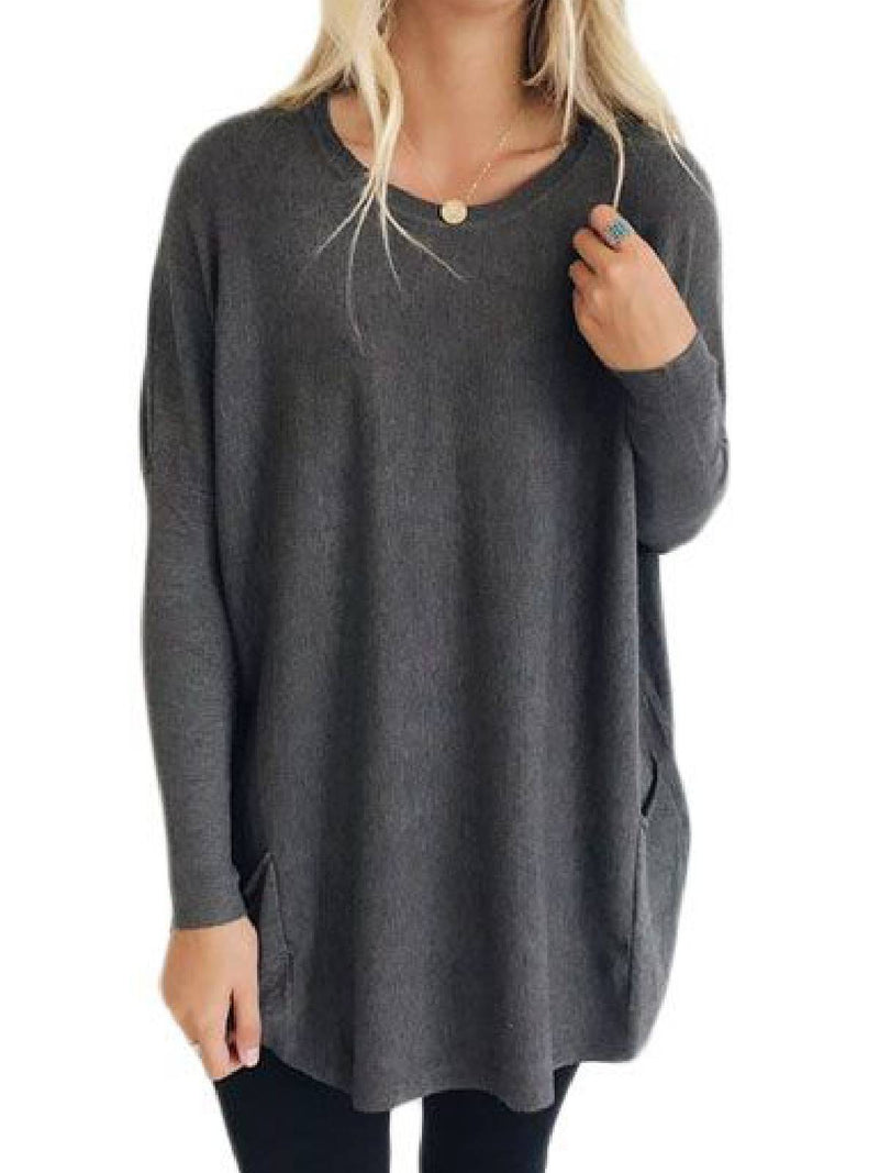 Gray Long Sleeve Round Neck Casual Shirts & Tops