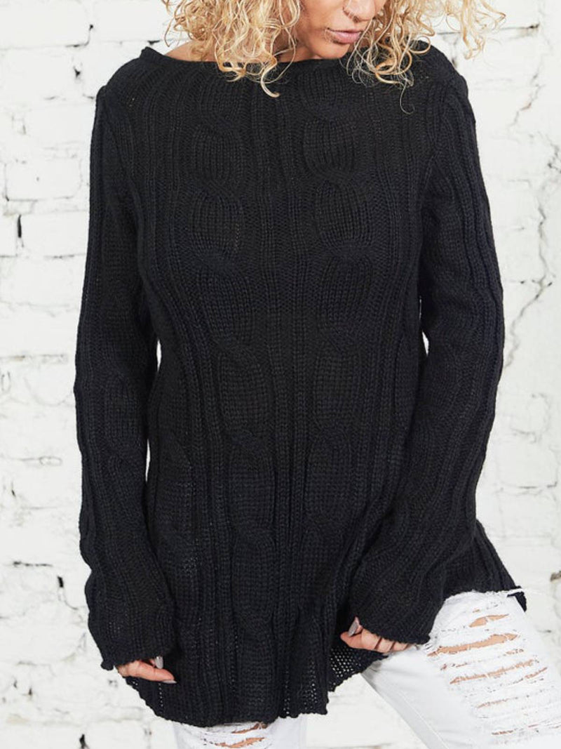 Black Crew Neck Plain Casual Shirts & Tops