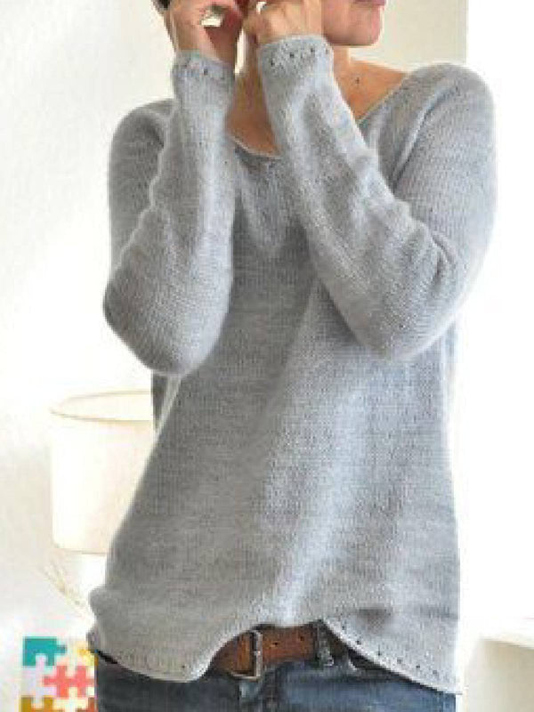 Women Light Gray V neck Cotton-Blend Long Sleeve Casual Sweater