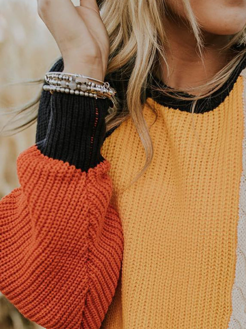 Yellow Color-Block Knitted Casual plus size Sweater