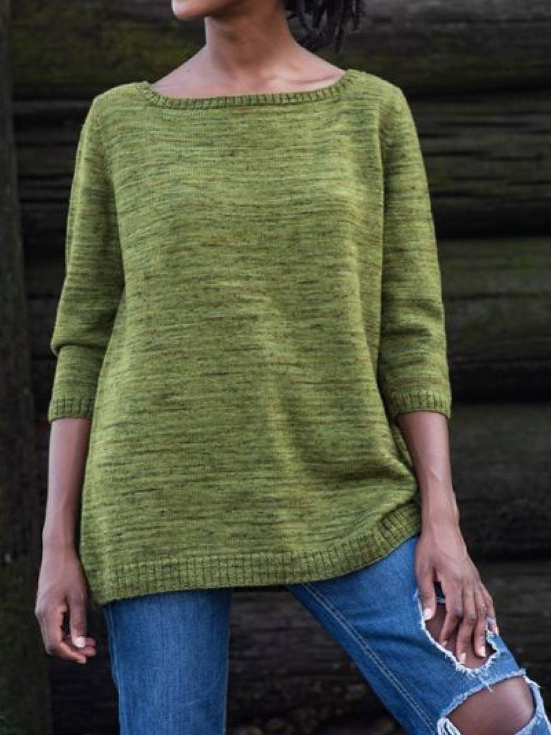 Green Cotton-Blend Long Sleeve Round Neck Shirts & Tops