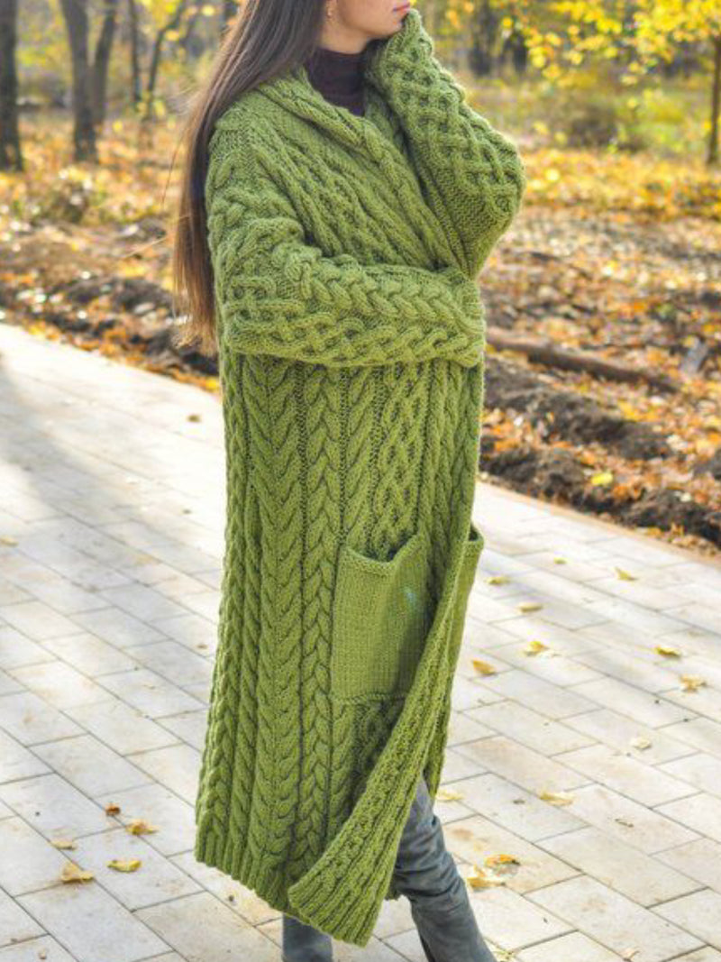 Green Casual Knitted plus size Outerwear