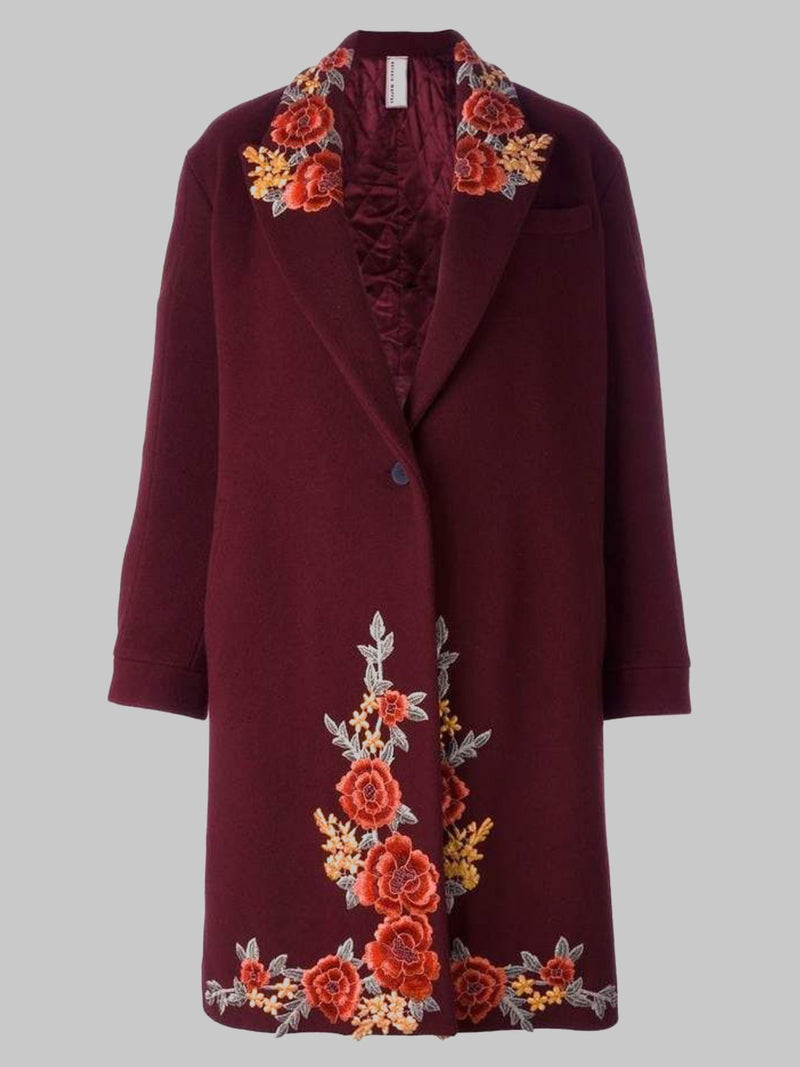 Wine Red Shift Long Sleeve Appliqued Outerwear