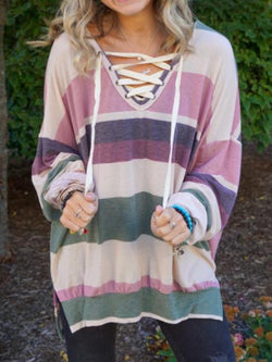 Plus Size Stripes Casual Long Sleeve Tops