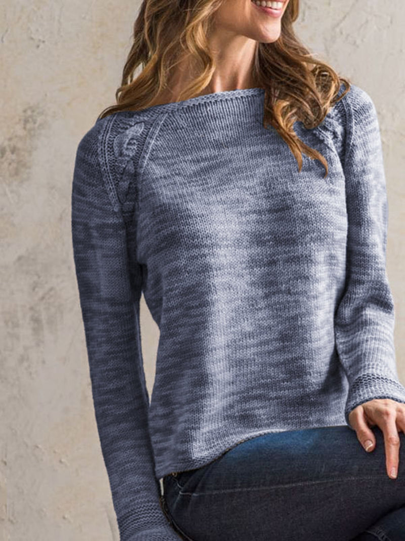 Blue Casual Long Sleeve V Neck Sweater