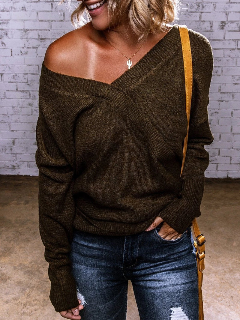 Deep Brown Long Sleeve Off Shoulder Knitted plus size Sweater
