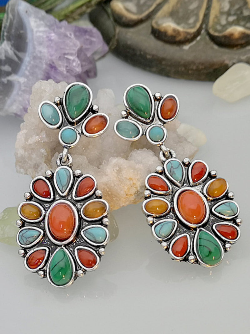 Vintage Red Agate Turquoise Earrings