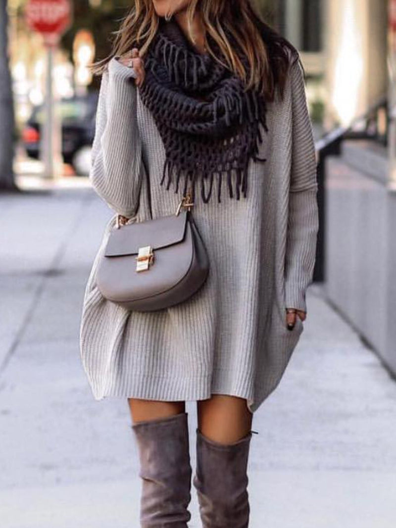 Grey Knitted Casual plus size Dresses