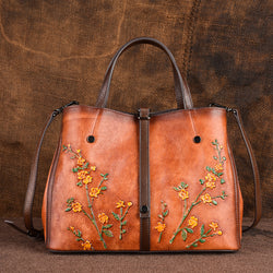 Leather vintage ethnic handbag