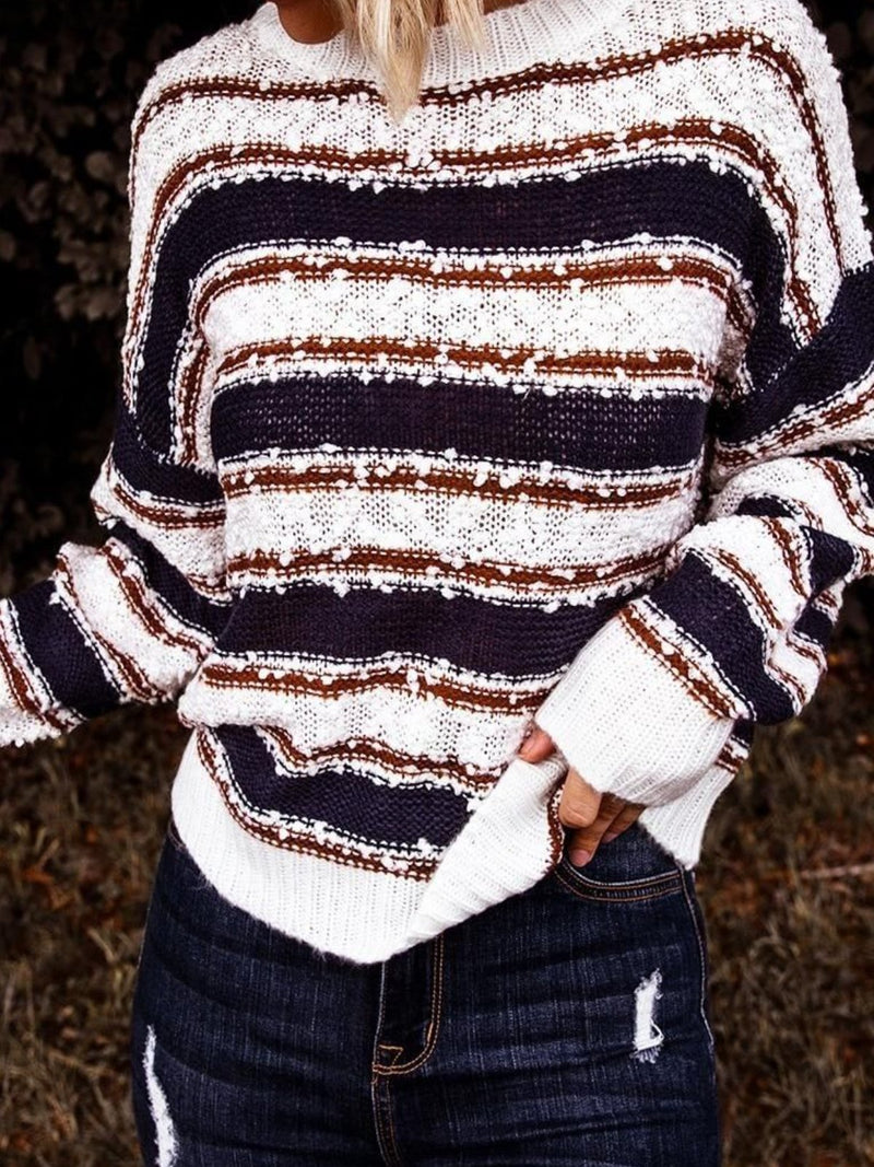 White-Black Long Sleeve Striped plus size Sweater