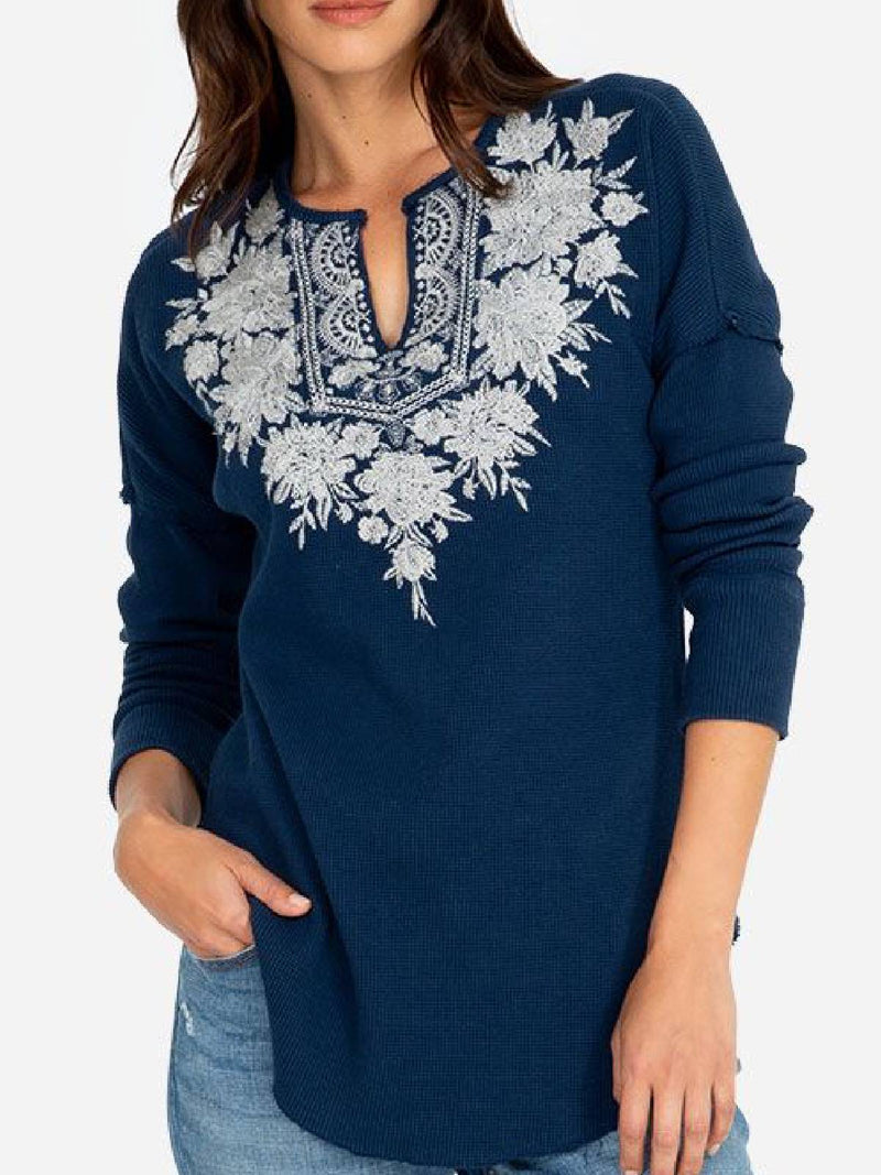 Blue Casual Long Sleeve Shirts & Tops