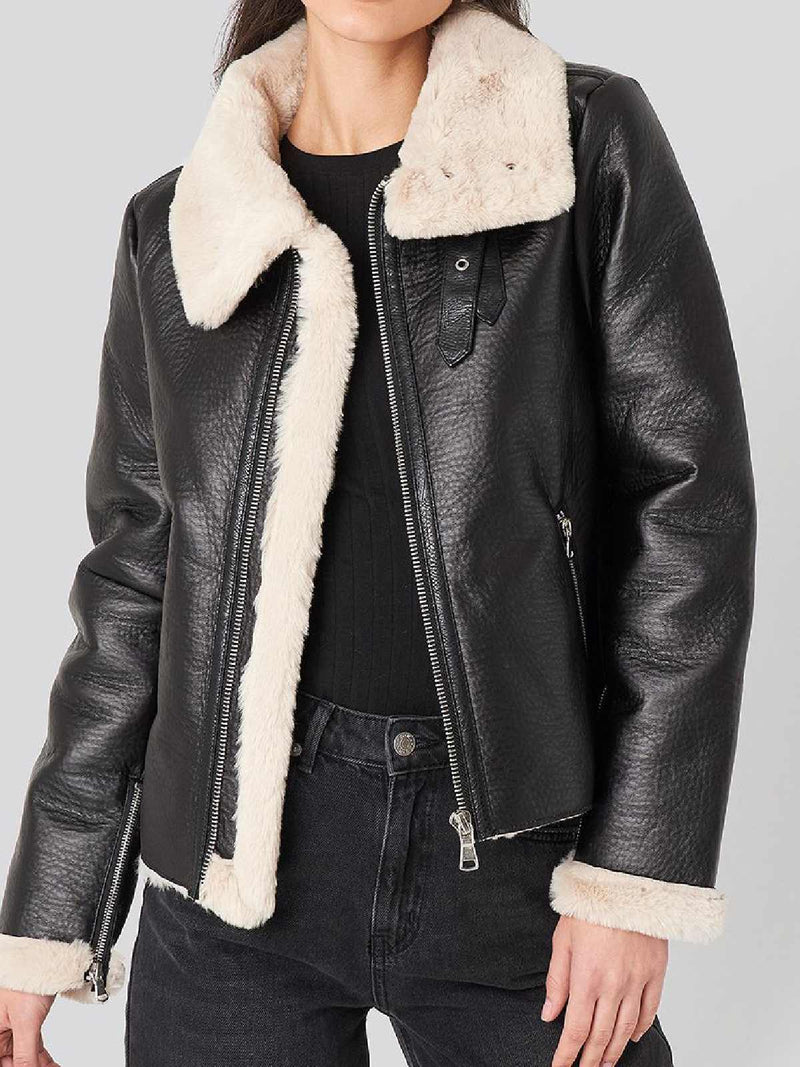 Black Faux Leather Casual Outerwear