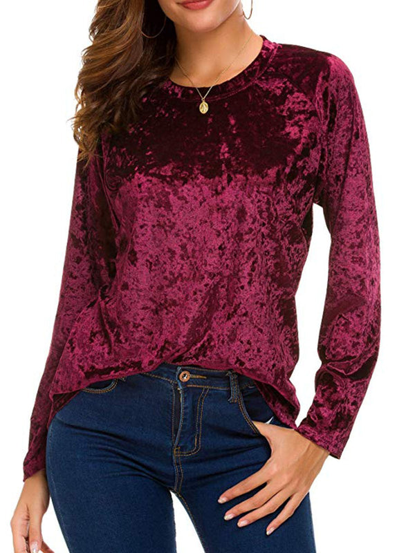 Simple & Basic Velvet Long Sleeve Solid Shirts & Tops