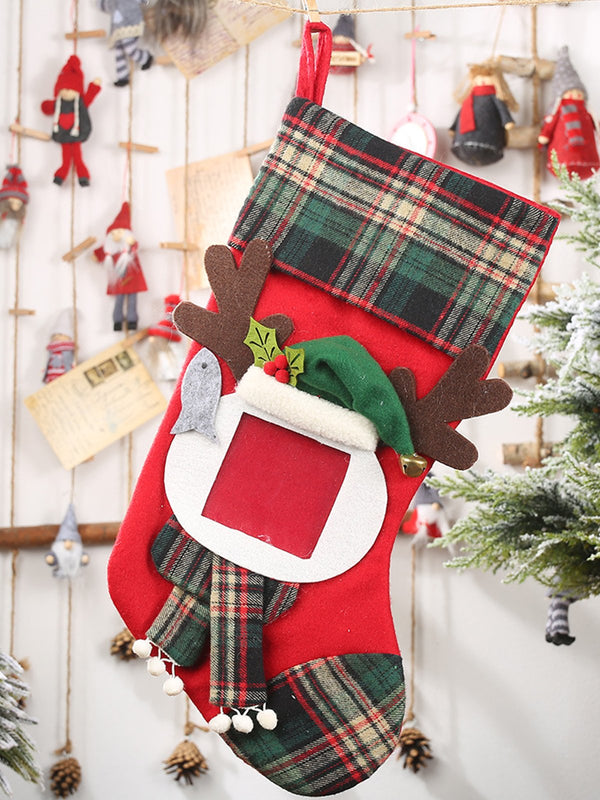Christmas Decoration Transparent Photo Frame Plaid Christmas Stocking Candy Bag