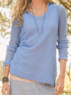 Blue Plain Cotton-Blend Long Sleeve Shirts & Tops