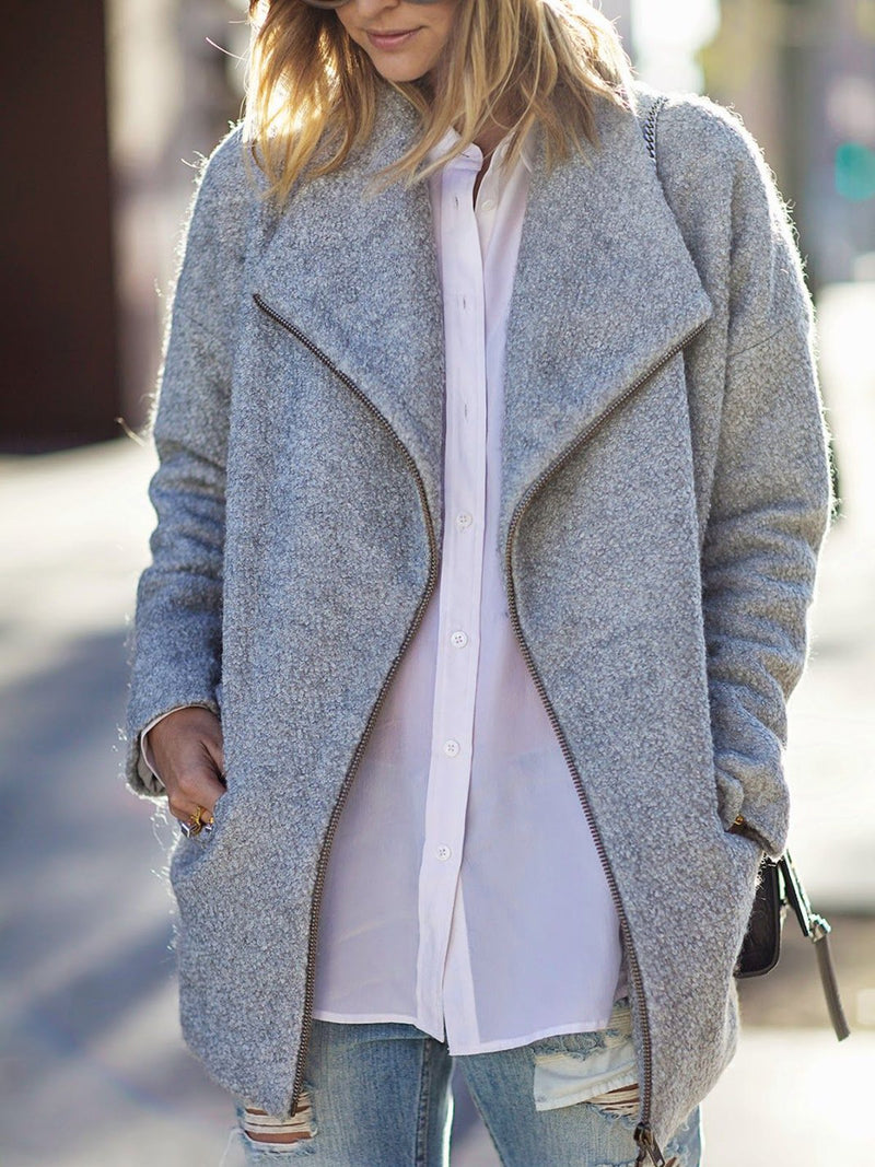 Solid Coat Shawl Collar Pockets Coats