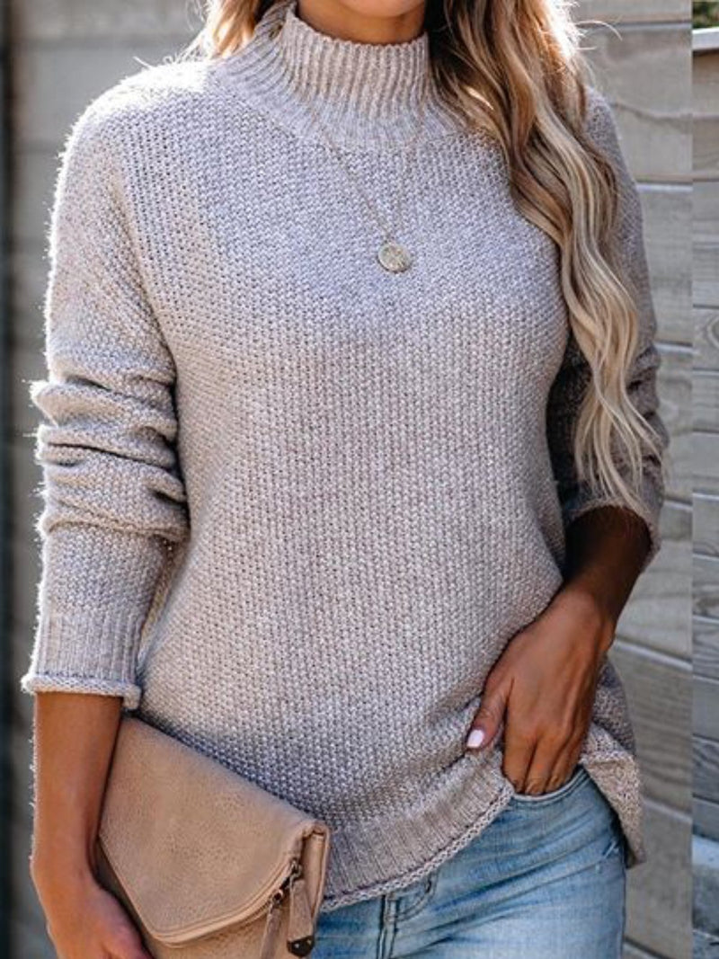 Gray Turtleneck Long Sleeve Cotton-Blend Solid Sweater