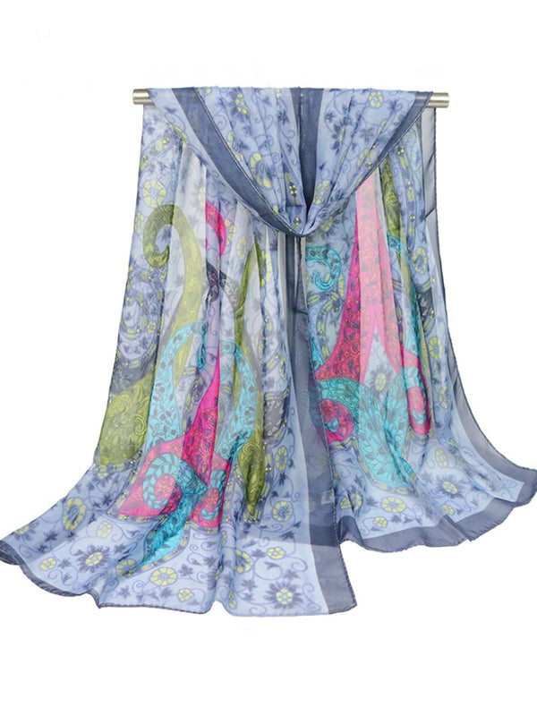 180CM Women Vintage Printing Scarves Casual Oversize Warm Soft Shawls