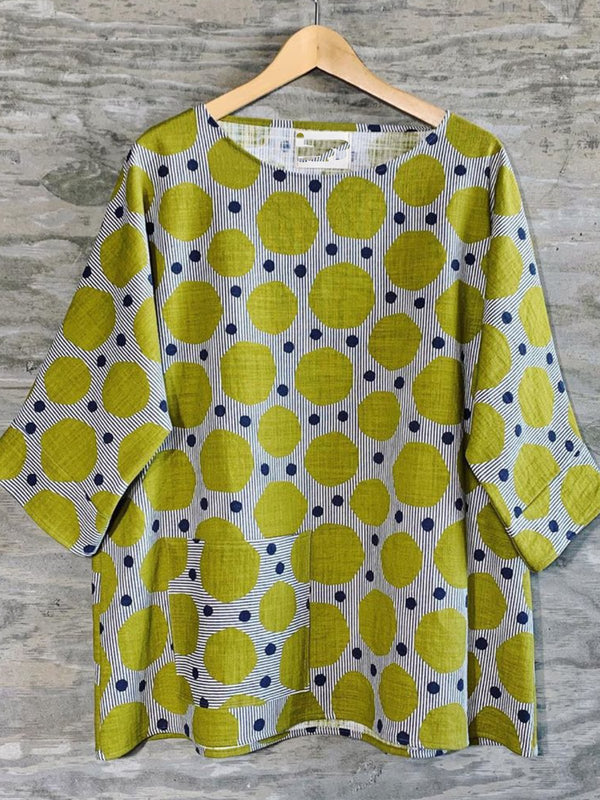 Green Printed Casual 3/4 Sleeve Tops
