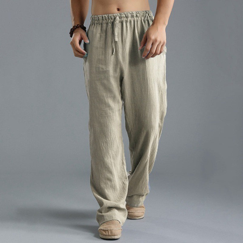 Men's Washed Cotton Loose Pants Breathable Casual Sweatpants Trousers