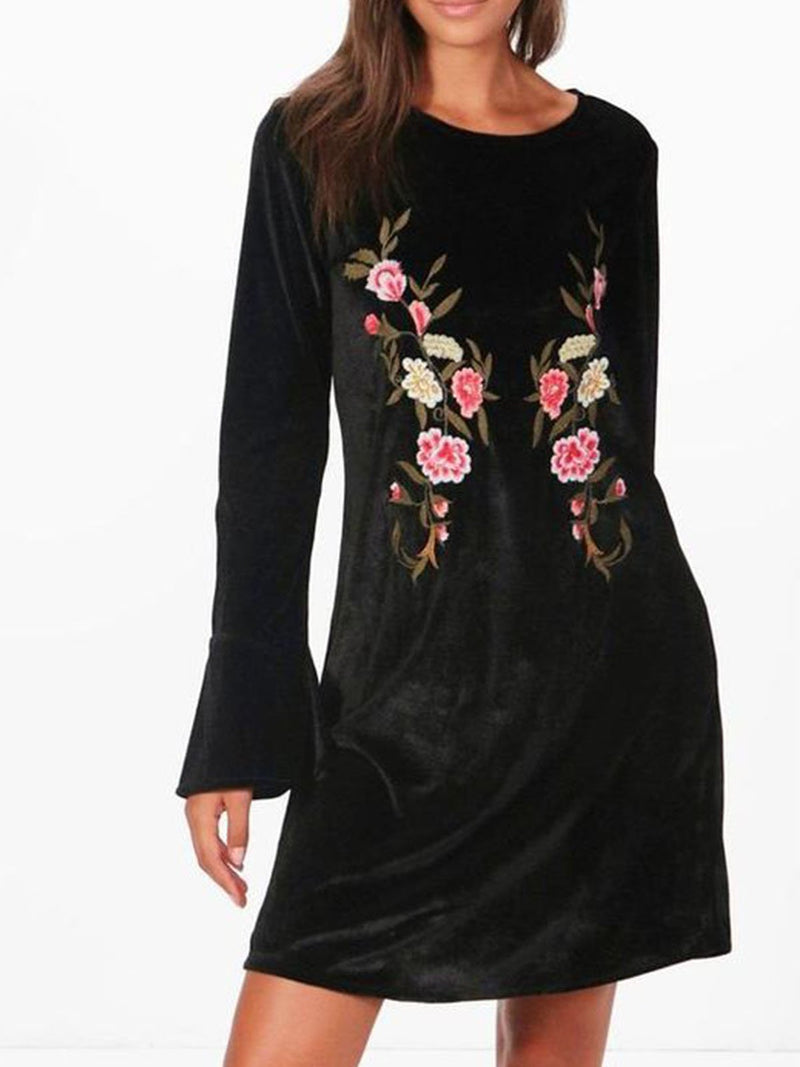 Black Round Neck Printed Long Sleeve Dresses