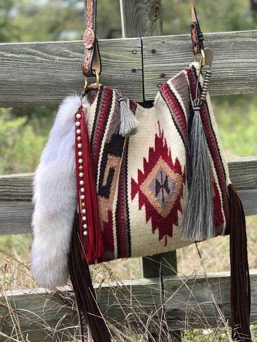 Wine Red Boho Canvas Crossbody Bags