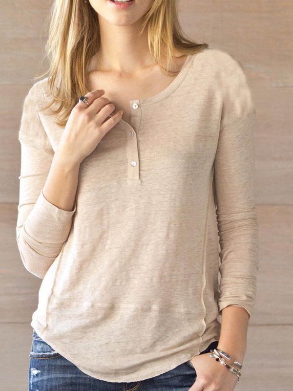 Light Khaki Cotton-Blend Long Sleeve Shirts & Tops