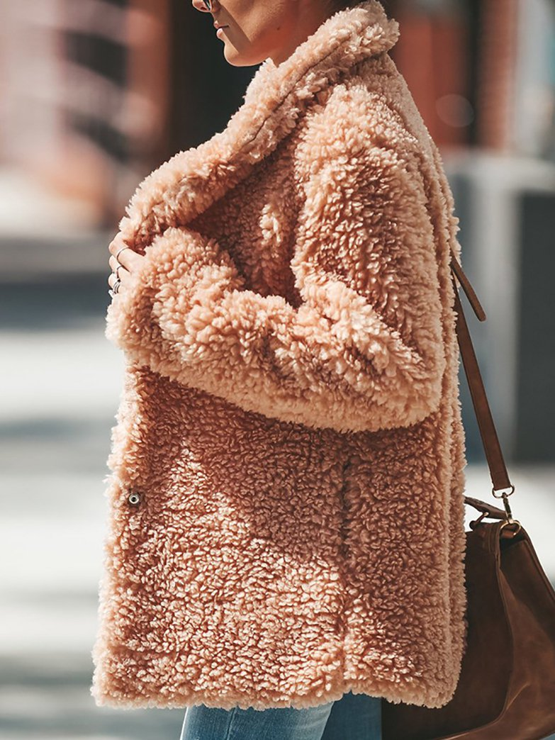 Brown Wool Shift Casual Outerwear