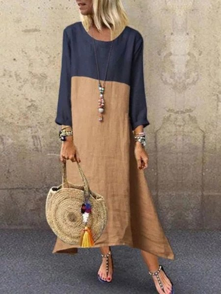 Women Khaki Long Sleeve Casual Linen Maxi Dresses