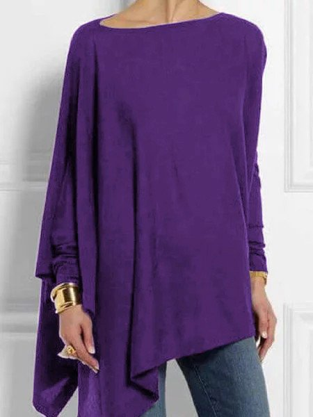 Women Vintage Round Neck Long Sleeve Cotton-Blend Shirts & Tops