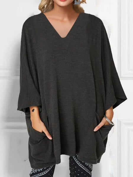 Plain V Neck Cotton Casual Plus Size Shirts & Tops
