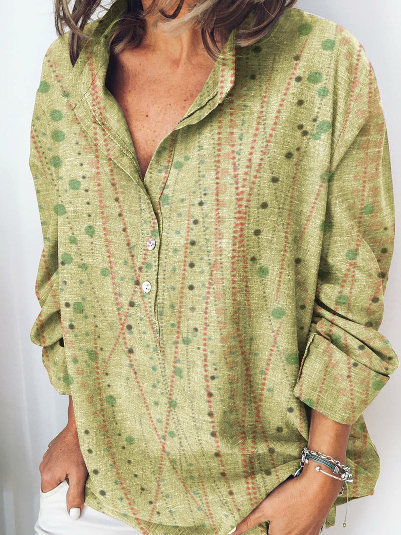 Lightgreen Shirt Collar Long Sleeve Polka Dots Cotton Shirts & Tops