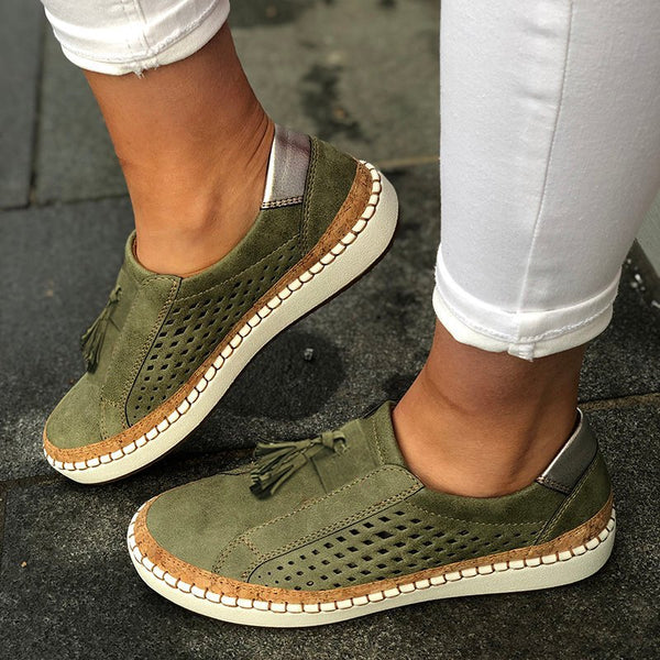 Women Fringe Slide Hollow-Out Casual Sneakers