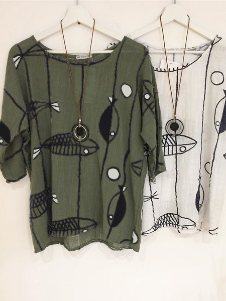 Plus Size Green 3/4 Sleeve Printed Tops