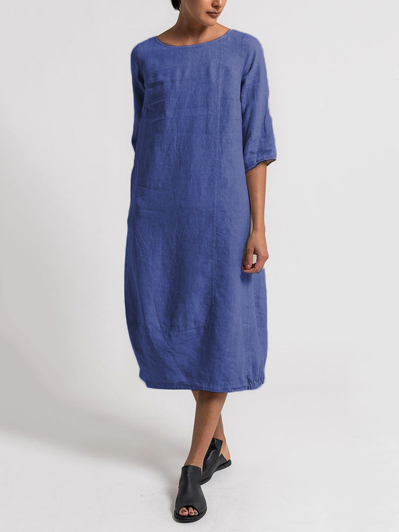 Casual Cotton Solid Crew Neck Linen Maxi Dresses
