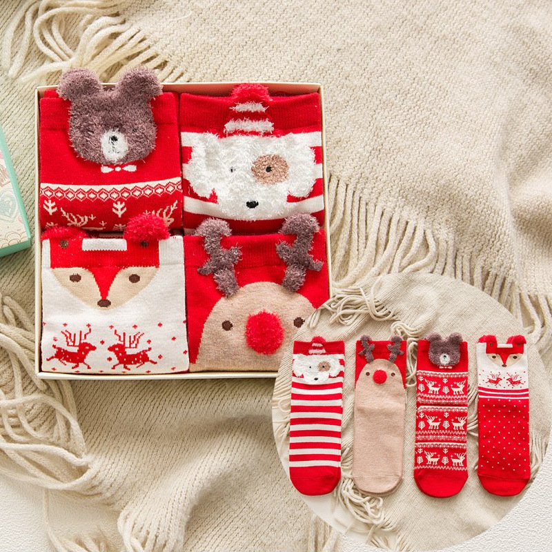 Breathable Women Christmas Socks female cotton red box autumn and winter Underwear & Socks