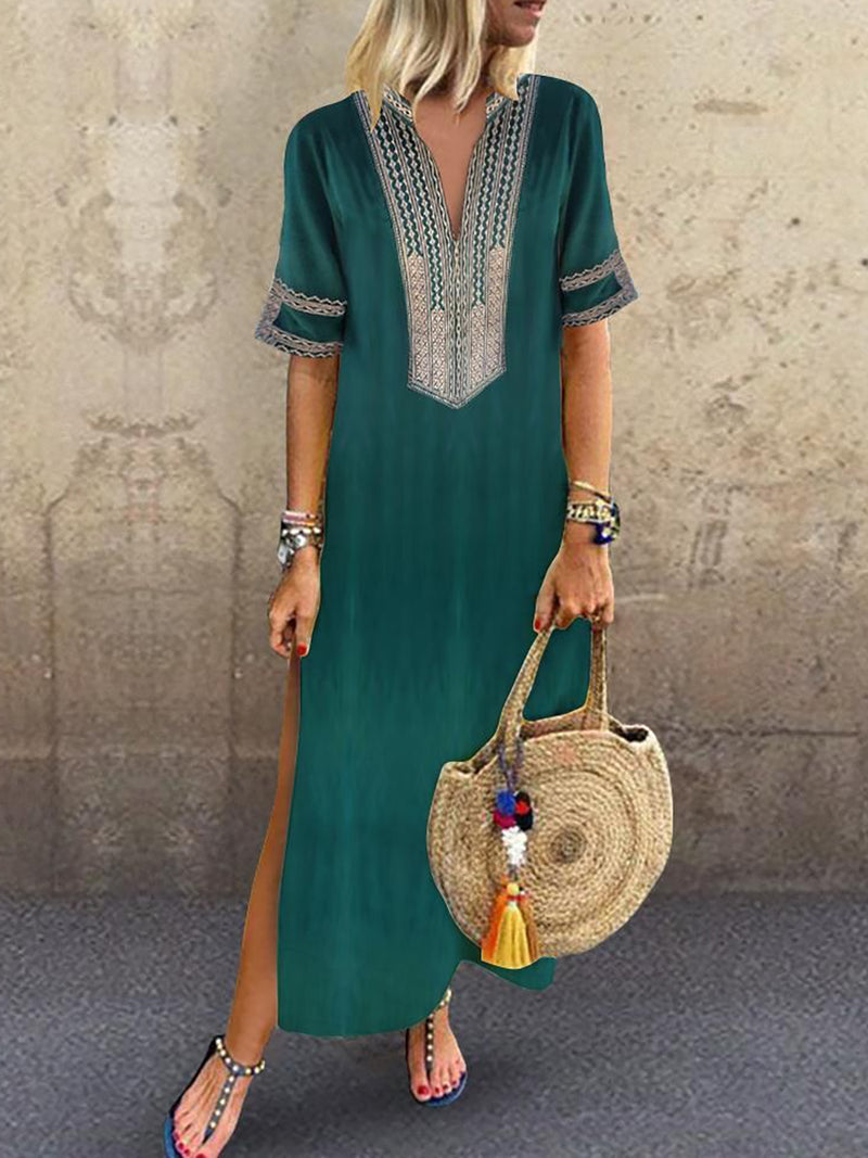 Women Daily Statement Half Sleeve Slit Solid Summer Dress