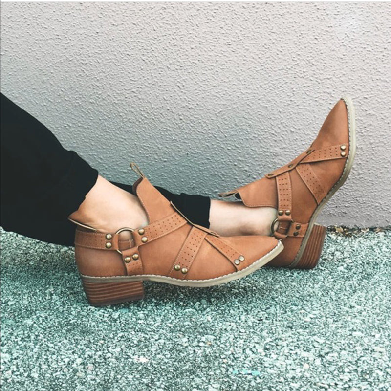Women Ankle Strap  Chunky Booties