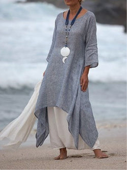 Plus Size Women Linen Dress Casual Asymmetric  Crew Neck Summer Dresses