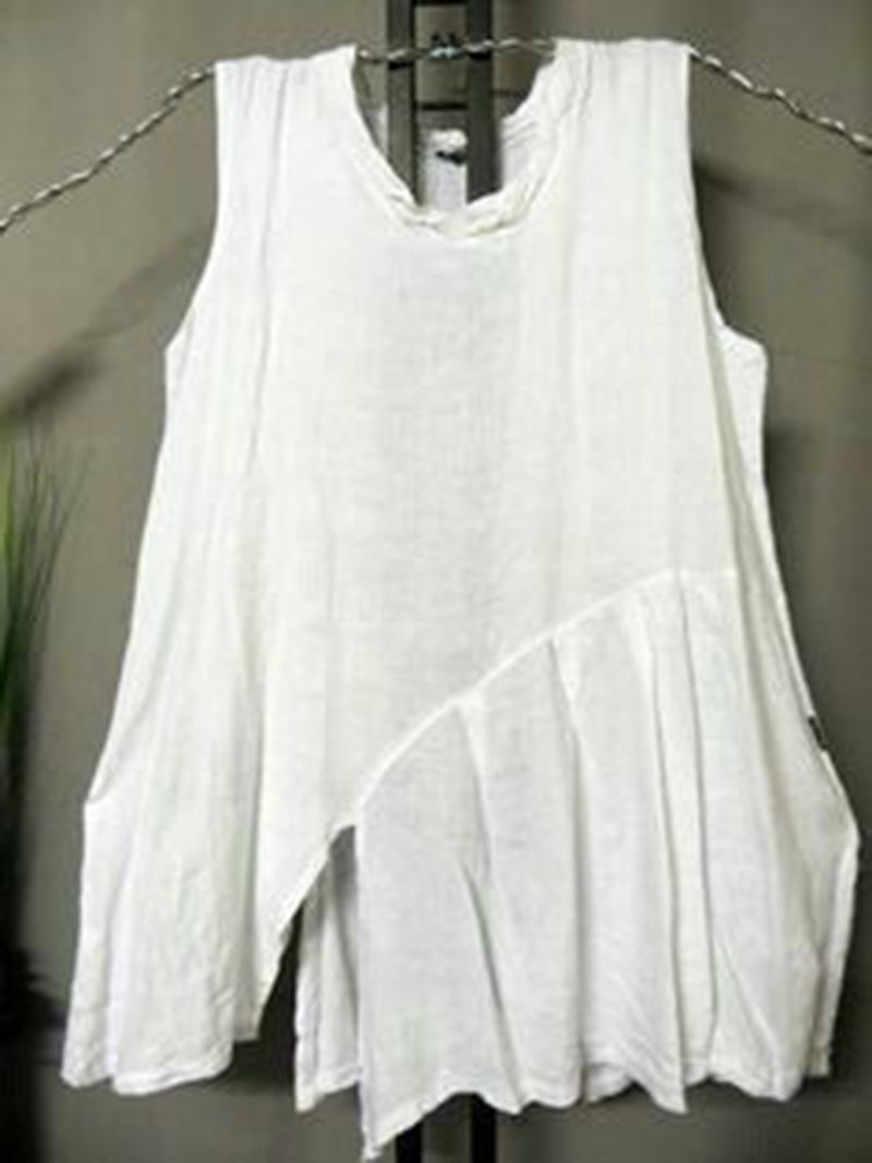 Women White Round Neck Sweet Cotton-Blend Sleeveless Shirts & Tops